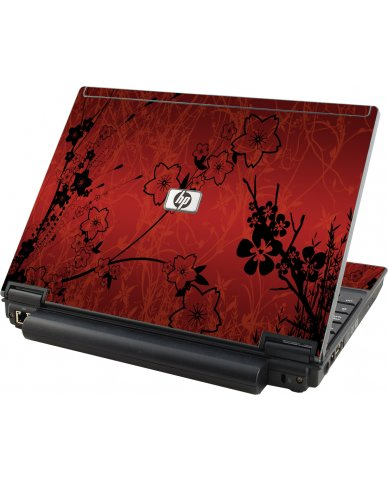 Retro Red Flowers HP Compaq 2510P Laptop Skin