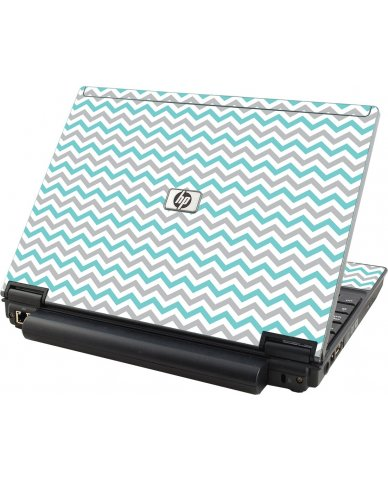 Teal Grey Chevron Waves HP Compaq 2510P Laptop Skin