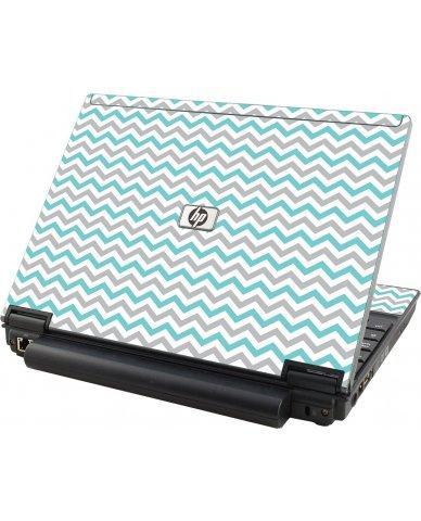 Teal Grey Chevron Waves HP Compaq 2510P Laptop Skin
