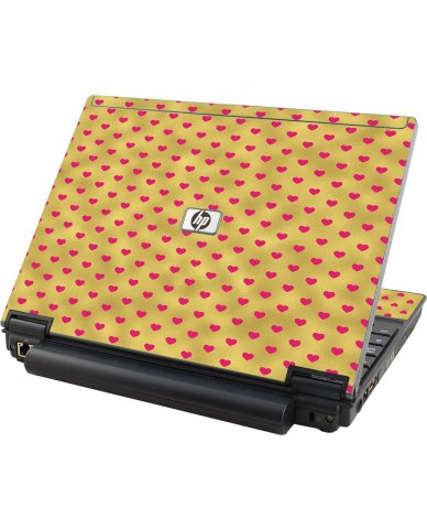 Gold Pink Hearts HP Elitebook 2530P Laptop Skin