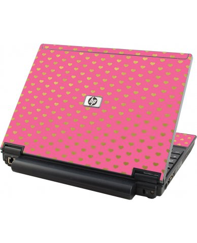 Pink With Gold Hearts  HP Elitebook 2530P Laptop Skin