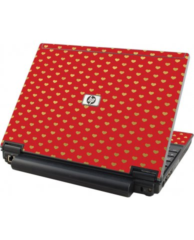 Red Gold Hearts HP Elitebook 2530P Laptop Skin