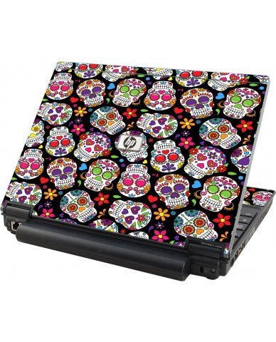 Sugar Skulls Black Flowers HP Elitebook 2530P Laptop Skin