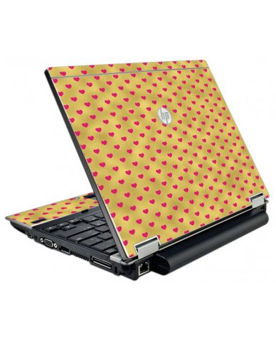 Gold Pink Hearts HP EliteBook 2540P Laptop Skin