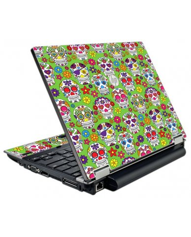 Green Sugar Skulls HP EliteBook 2540P Laptop Skin
