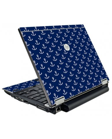 Navy White Anchors HP Elitebook 2540P Laptop Skin