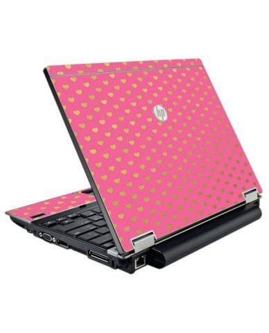 Pink With Gold Hearts HP EliteBook 2540P Laptop Skin
