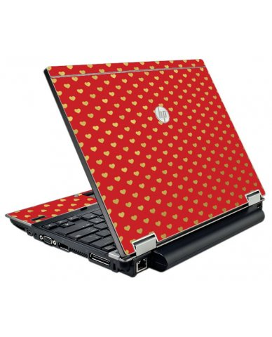 Red Gold Hearts HP EliteBook 2540P Laptop Skin
