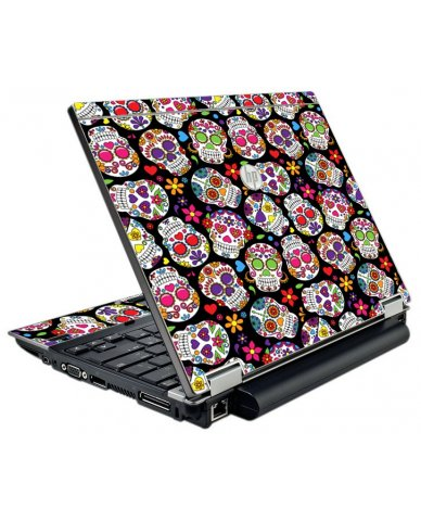 Sugar Skulls Black Flowers HP EliteBook 2540P Laptop Skin