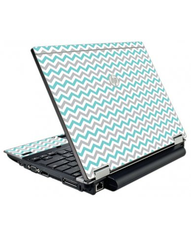 Teal Grey Chevron Waves HP Elitebook 2540P Laptop Skin