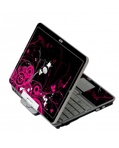 Black Pink Butterfly HP EliteBook 2730P Laptop Skin