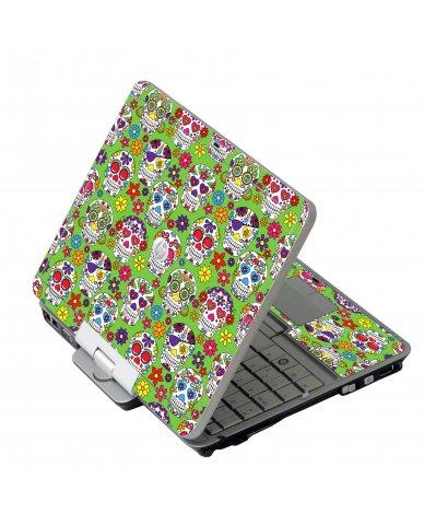 Green Sugar Skulls HP EliteBook 2730P Laptop Skin