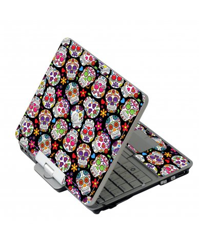 Sugar Skulls Black Flowers HP EliteBook 2730P Laptop Skin