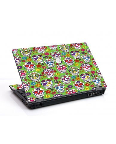 Green Sugar Skulls HP ProBook 6455B Laptop Skin