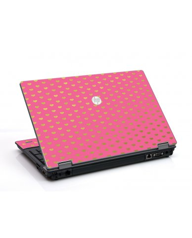 Pink With Gold Hearts HP ProBook 6455B Laptop Skin