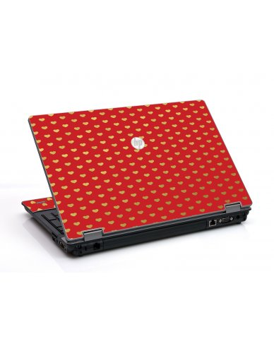 Red Gold Hearts HP ProBook 6455B Laptop Skin