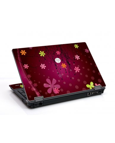 Retro Pink Flowers HP ProBook 6455B Laptop Skin