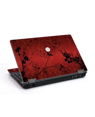Retro Red Flowers HP ProBook 6455B Laptop Skin