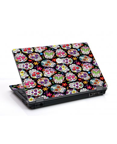 Sugar Skulls Black Flowers HP ProBook 6455B Laptop Skin