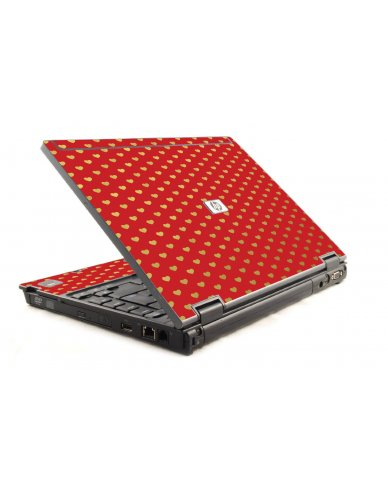 Red Gold Hearts HP Compaq 6910P Laptop Skin