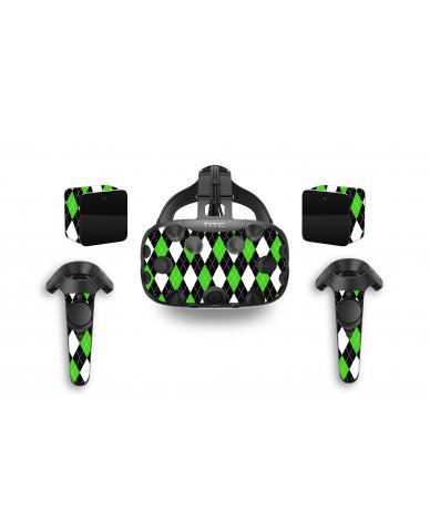 GREEN BLACK ARGYLE HTC VIVE VR SKIN