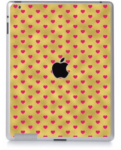 GOLD PINK HEARTS Apple iPad 2 A1395 SKIN