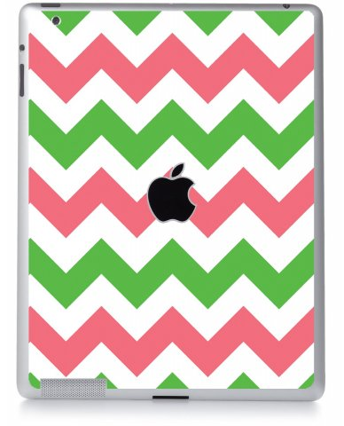 GREEN PINK CHEVRON Apple iPad 2 A1395 SKIN