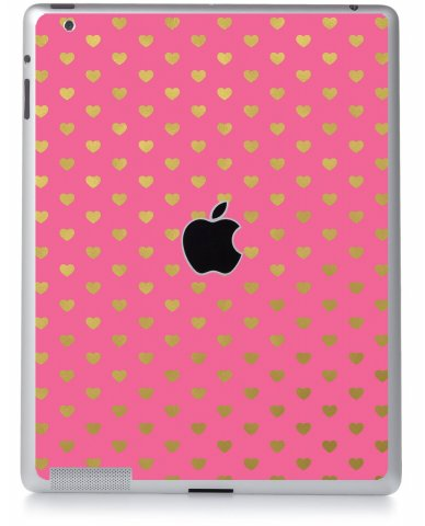 PINK GOLD HEARTS Apple iPad 2 A1395 SKIN