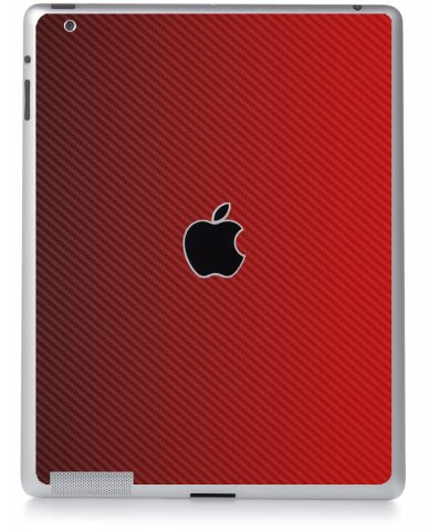 RED TEXTURED CARBON FIBER Apple iPad 3 A1416 SKIN
