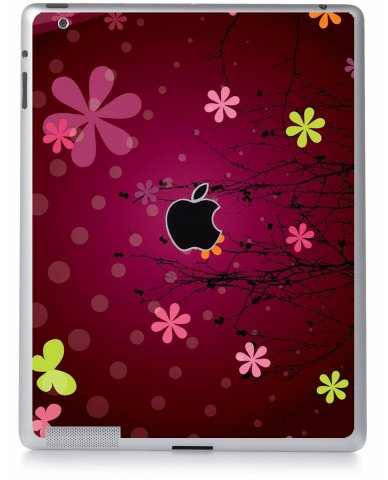 RETRO PINK FLOWERS Apple iPad 3 A1416  SKIN