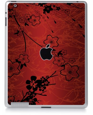 RETRO RED FLOWERS Apple iPad 3 A1416  SKIN