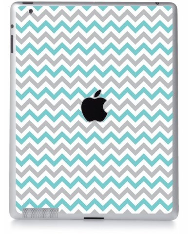 TEAL GREY CHEVRON Apple iPad 2 A1395 SKIN