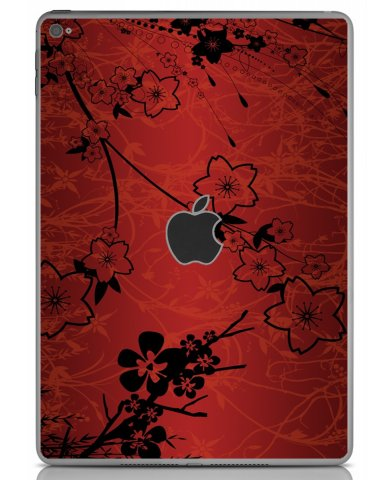 RETRO RED FLOWERS Apple iPad Air 2 A1566  SKIN