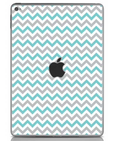TEAL GREY CHEVRON Apple iPad Air 2 A1566 SKIN