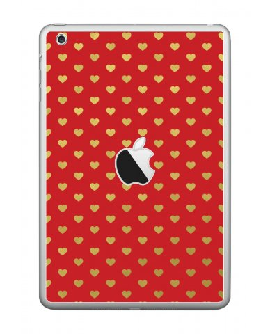 RED GOLD HEARTS Apple iPad Mini A1432 SKIN