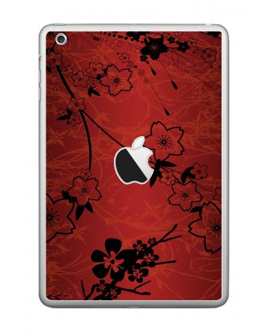 RETRO RED FLOWERS Apple iPad Mini A1432  SKIN