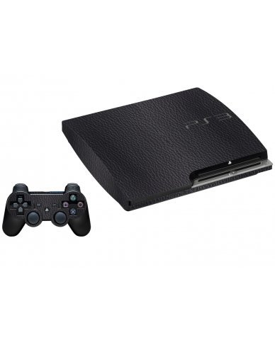 BLACK LEATHER PLAYSTATION 3 GAME CONSOLE SKIN