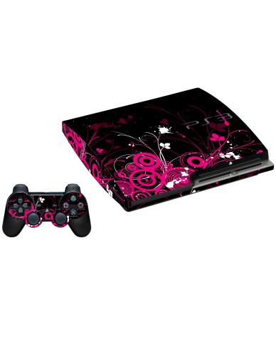 BLACK PINK BUTTERFLIES PLAYSTATION 3 GAME CONSOLE SKIN