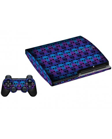 BLUE SKULLS PLAYSTATION 3 GAME CONSOLE SKIN