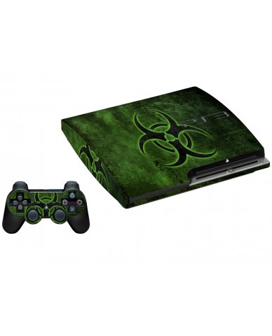 GREEN BIOHAZARD PLAYSTATION 3 GAME CONSOLE SKIN