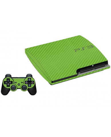 GREEN TEXTURED CARBON FIBER PLAYSTATION 3 GAME CONSOLE SKIN