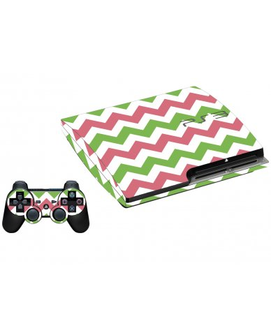 GREEN PINK CHEVRON PLAYSTATION 3 GAME CONSOLE SKIN