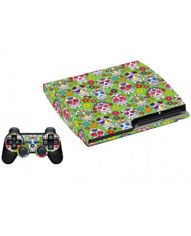 GREEN SUGAR SKULLS PLAYSTATION 3 GAME CONSOLE SKIN