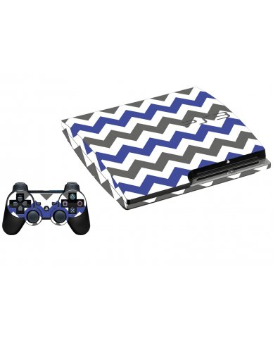 GREY BLUE CHEVRON PLAYSTATION 3 GAME CONSOLE SKIN