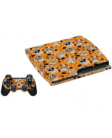 ORANGE SUGAR SKULL PLAYSTATION 3 GAME CONSOLE  SKIN