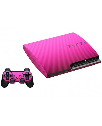 PINK TEXTURED CARBON FIBER PLAYSTATION 3 GAME CONSOLE SKIN