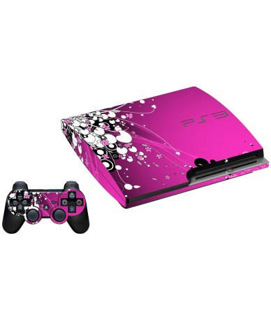 PINK FLOWERS PLAYSTATION 3 GAME CONSOLE SKIN