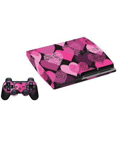 PINK MOSAIC HEARTS PLAYSTATION 3 GAME CONSOLE SKIN