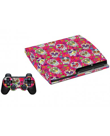PINK SUGAR SKULLS PLAYSTATION 3 GAME CONSOLE SKIN