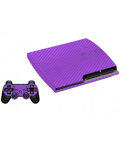 PURPLE TEXTURED CARBON FIBER PLAYSTATION 3 GAME CONSOLE  SKIN
